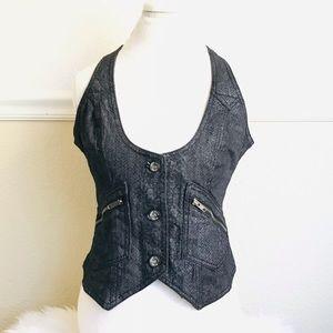 DKNY Jeans Snakeskin Print Vest